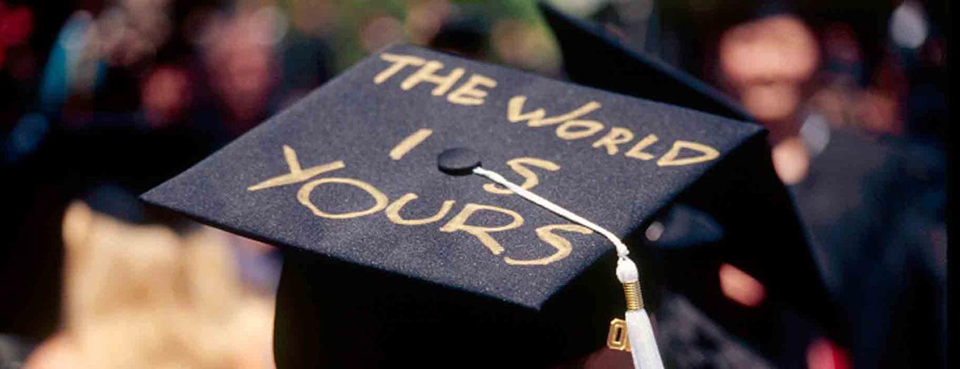 Student's graduation cap reading,